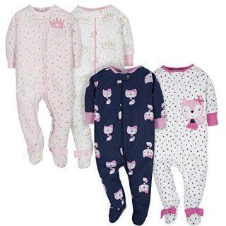 GERBER Baby Girls' 4-Pack Sleep 'N Play, Fox/Princess, 3-6 Months
