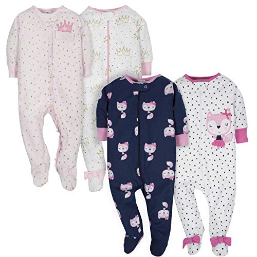 GERBER Baby Girls' 4-Pack Sleep 'N Play, Fox/Princess, 3-6 Months