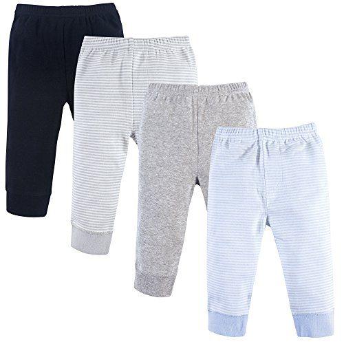 Luvable Friends Baby Cotton Pants, Powder Blue Stripe 4-Pack