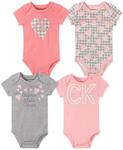 Calvin Klein Baby Girls 4 Pieces Pack Bodysuits, Pink/Gray/Print