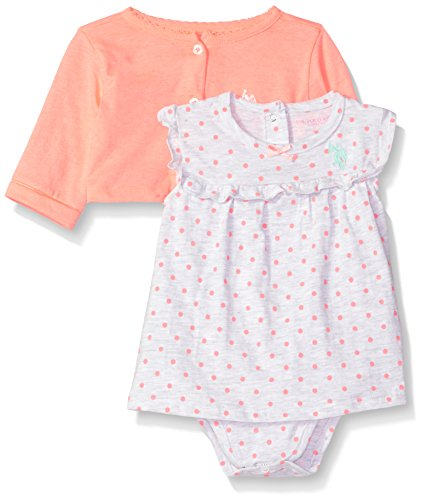 U.S. Polo Assn. Baby Girl's Dress with Sweater or Jacket Dress