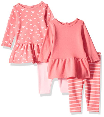 Hanes Ultimate Baby Flexy Set-2 Long Sleeve Dresses with 2 Leggings