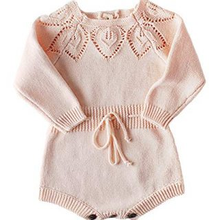 Newborn Baby Girls Cute Knit Strap Romper Leaves Pattern Jumpsuit Bodysuit Pink