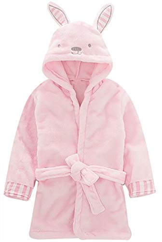 Little Girl's Boy's Coral Fleece Bathrobe Unisex Toddler Kids Cartoon Hooded Plush