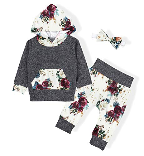 Infant Toddler Baby Girl Outfit Long Sleeve Hoodie Sweatsuit+Floral Pants