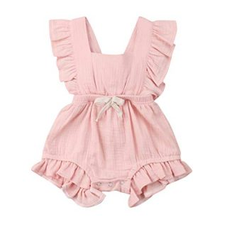 YOUNGER TREE Toddler Baby Girl Ruffled Sleeveless Romper Casual Summer
