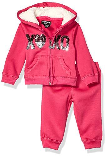 XOXO Baby Girls Hoodie & Jogger Set, Pink Sequin