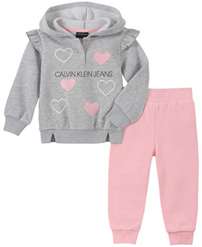 Calvin Klein Baby Girls 2 Pieces Jog Set, Gray/Pink