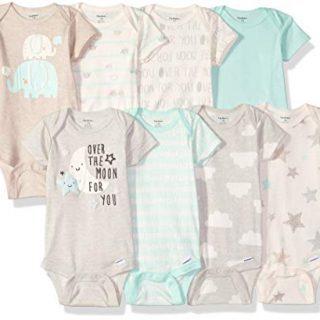 GERBER Baby 8-Pack Short-Sleeve Onesies Bodysuit, Elephants