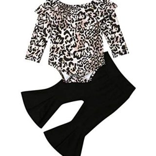 Toddler Baby Girl Clothes Leopard Off Shoulder Tube Top Shirt Romper Bell