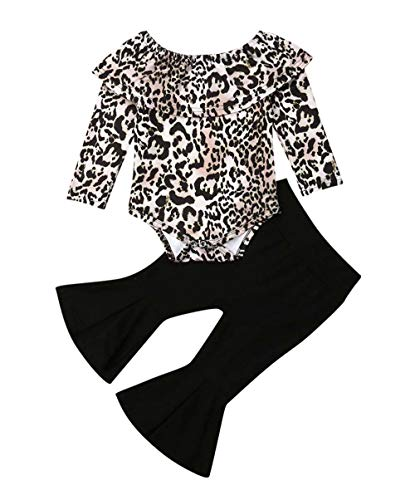 Toddler Baby Girl Clothes Leopard Off Shoulder Tube Top Shirt Romper Bell