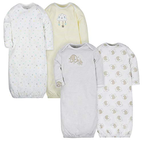 GERBER Baby 4-Pack Gown, Clouds/Elephant