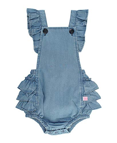 RuffleButts Baby/Toddler Girls Light Wash Denim Flutter Overall Romper