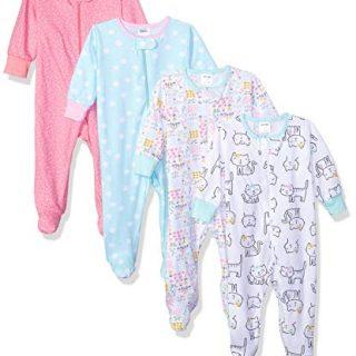 Onesies Brand Baby Girls' 4-Pack Sleep 'N Play, Cats, 6-9 Months