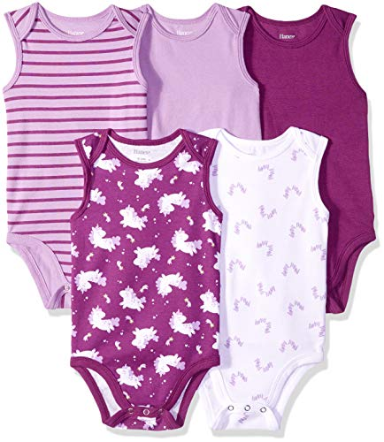 Hanes Ultimate Baby Flexy 5 Pack Sleeveless Bodysuits (Tanks), Purple Fun
