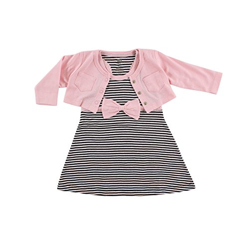 Hudson Baby Baby Girl Cotton Dress and Cardigan Set, Light Pink Black