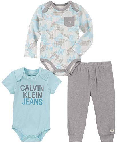 Calvin Klein Baby Boys 3 Pieces Bodysuit Pants Set, Blue/Print/Gray