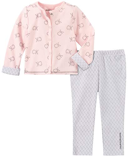 Calvin Klein Baby Girls 2 Pieces Cardigan Pants Set, Frozen Petal
