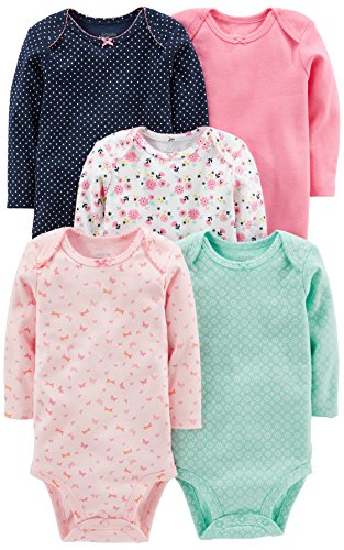 Simple Joys by Carter's Baby Girls' 5-Pack Long-Sleeve Bodysuit