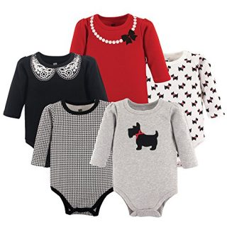 Hudson Baby Unisex Baby Cotton Long-Sleeve Bodysuits, Scottie Dog
