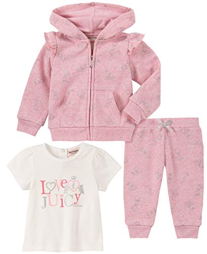 Juicy Couture Baby Girls 3 Pieces Jacket Pants Set, Peach Print/Vanilla