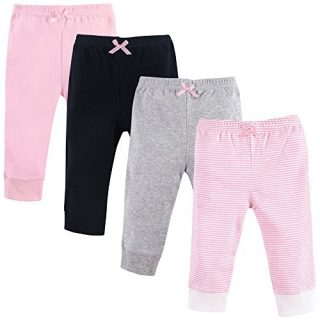 Luvable Friends Baby Cotton Pants, Lt. Pink Stripe 4-Pack