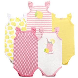 Hudson Baby Unisex Baby Cotton Sleeveless Bodysuits, Lemonade