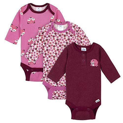 GERBER Baby Girls 3-Pack Long Sleeve Thermal Onesies Bodysuits, Fox Floral