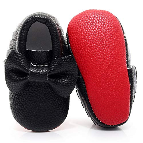 Double Bow Baby Moccasins - Soft Red Sole Baby Shoes Toddler Infant Fringe Girls