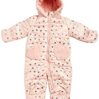 Jessica Simpson Baby Girls Snowsuit Pram with Sherpa Lined Hood