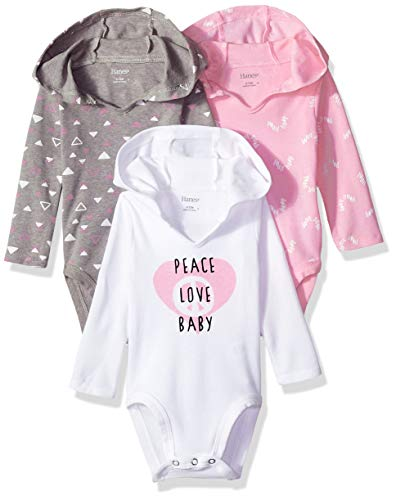 Hanes Ultimate Baby Flexy 3 Pack Hoodie Bodysuits, Pink/Grey Shades