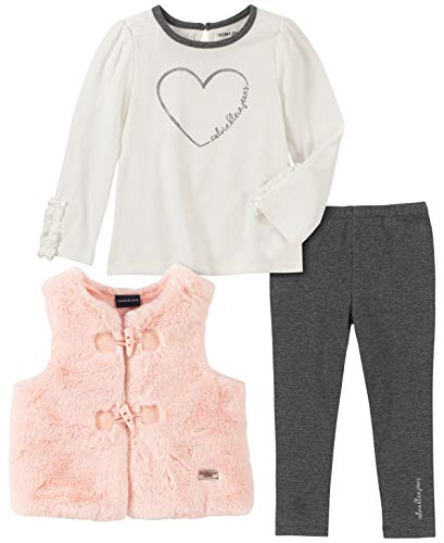 Calvin Klein Baby Girls 3 Pieces Vest Pants Set, Whisper White/Pink/Charcoal