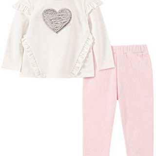 Calvin Klein Baby Girls 2 Pieces Pants Set, Vanilla/Frozen Petal