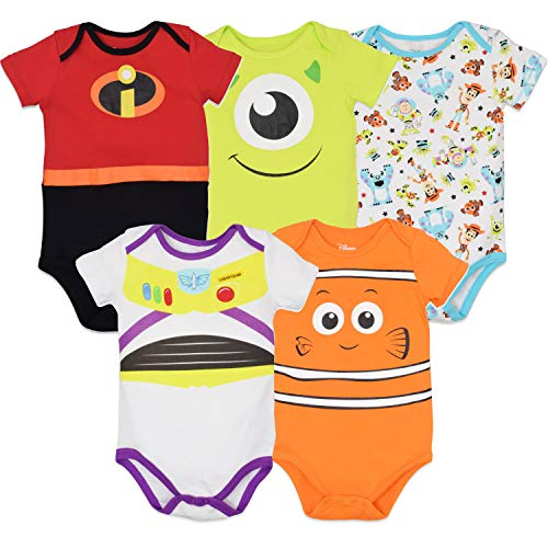 Disney Pixar Baby Boy Girl 5 Pack Bodysuits Nemo Buzz Incredibles Monsters Inc