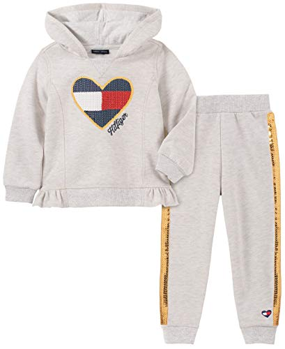Tommy Hilfiger Baby Girls 2 Pieces Jog Set, Oatmeal Heather