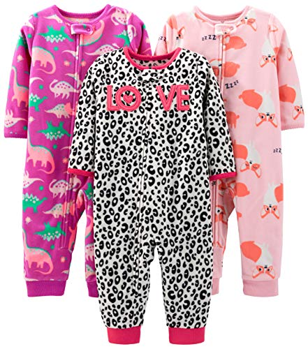 Simple Joys by Carter's Girls' 3-Pack Loose Fit Flame Resistant Fleece Footless Pajamas, Fox/Dino/Leopard Print, 18 Months