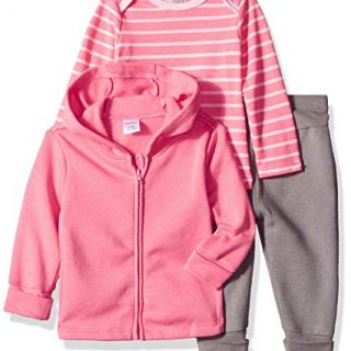 Hanes Ultimate Baby Flexy Jogger with Long Sleeve Crew and Fleece Hoodie