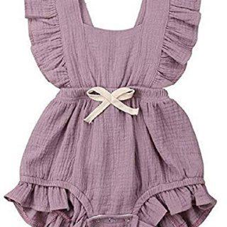 Newborn Baby Toddler Girl Romper One-Piece Cotton Flutter Sleeve Bodysuit