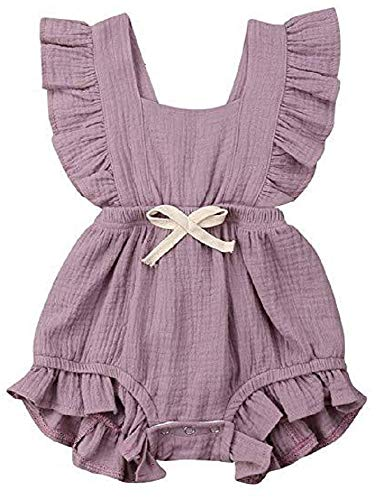 Newborn Baby Toddler Girl Romper One-Piece Cotton Flutter Sleeve Bodysuit