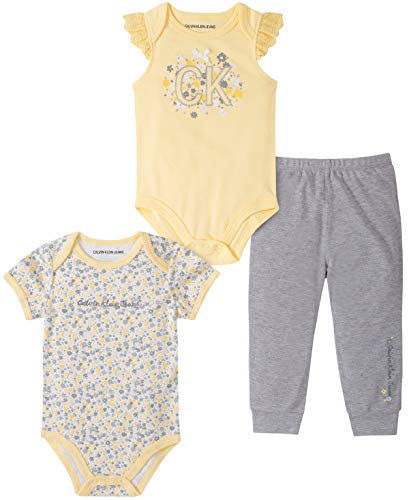Calvin Klein Baby Girls' 3 Pieces Bodysuit Pants Set, Yellow/Gray