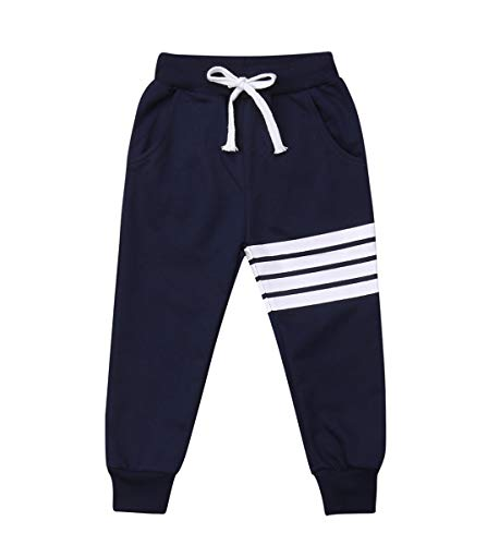 Baby Boys Girls Cotton Elastic Waist Sports Pants White Strips Print Unisex Baby