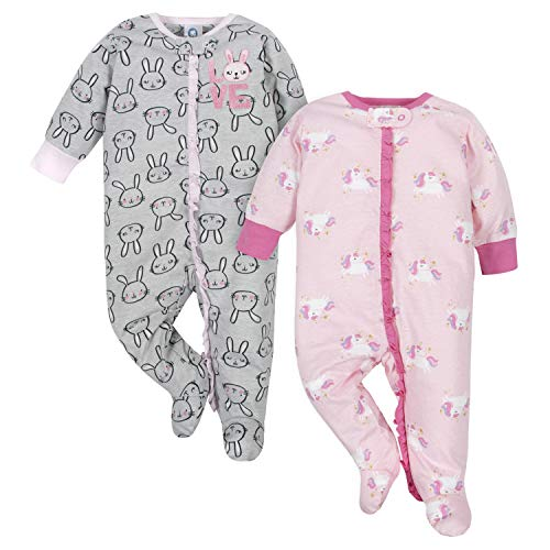 GERBER Baby Girls' 2-Pack Sleep 'N Play, Bunnies & Unicorn