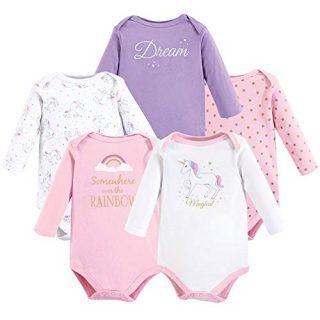 Hudson Baby Unisex Baby Cotton Long-Sleeve Bodysuits, Magical Unicorn