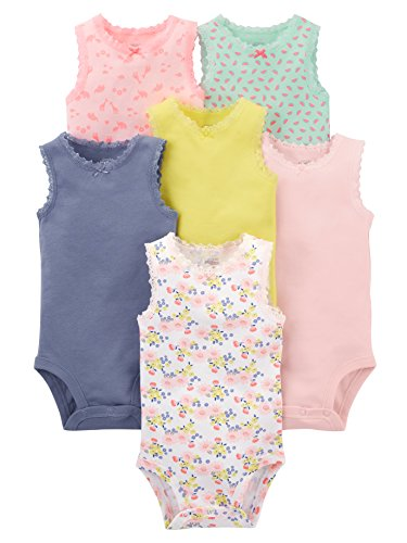 Simple Joys by Carter's Baby Girls' 6-Pack Sleeveless Bodysuit, Pink