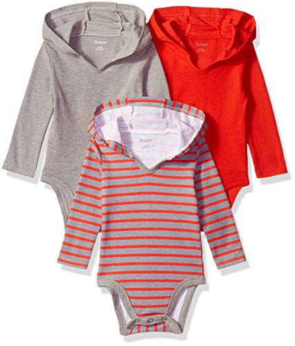 Hanes Ultimate Baby Flexy 3 Pack Hoodie Bodysuits, Red/Grey Stripe