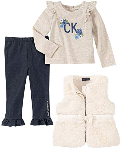 Calvin Klein Baby Girls 3 Pieces Vest Pants Set, Oatmeal
