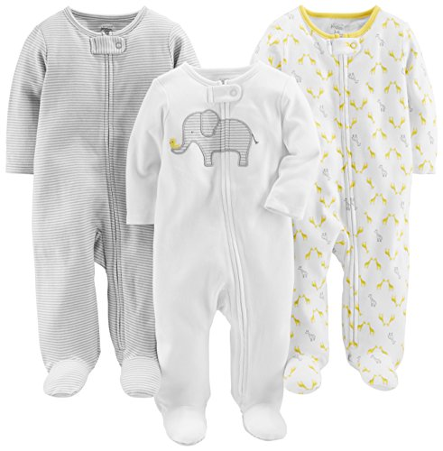 Simple Joys by Carter's Baby 3-Pack Neutral Sleep and Play, Elephant, Stripe