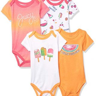 Juicy Couture Baby Girls 4 Pieces Pack Bodysuits, Pink/Gold/White