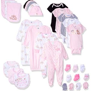 GERBER Baby 30-Piece Essentials Gift Set, Princess Crown, Newborn Assorted Sizes