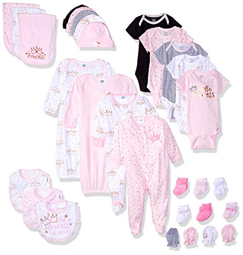 GERBER Baby 30-Piece Essentials Gift Set, Princess Crown, Newborn Assorted Sizes